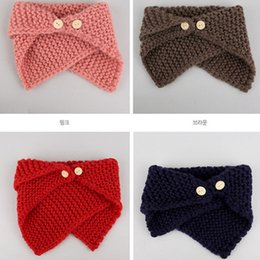 Wholesale Baby Red Cape - 2017 Winter New button knitting wool keep warm Children Scarves Girls Winter Scarf baby Cape Children Wraps Ring Toddler wear A891