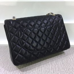 Wholesale Diamond Quilted - Hot sale high quality Fab Price Classial 34CM Quilted Chain Genuine Leather Double Flaps Fashion Shoulder Chain Bag (10 color) #58601