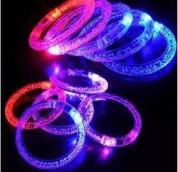 Wholesale Kids Disco Bracelet - LED bracelet light up flashing Glowing bracelet Blinking Crystal bracelet Party Disco Christmas Gift