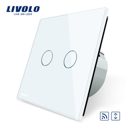 Wholesale Black White Curtain Panels - FREE Shipping, Livolo EU Standard Touch house home led remote curtains Switch, Luxury White Crystal Glass Panel, C702WR-1 2 3 5
