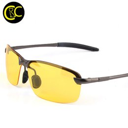 Wholesale Hd Vision Night Driving Glasses - Wholesale- Classic HD High Definition Night Vision Polarized Glasses Goggles Yellow Lens Glasses for Driving at Night UV400 CC0008