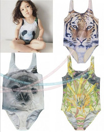 Wholesale Bathing Tiger - 2016 Summer One Piece Kids Swimsuit Tiger Print Swimsuit for Girls Brand new Kids Swimwear Girls Bathing Suits Girls Swimwear Seal Panda