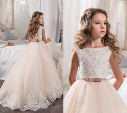 Por encargo vestidos de niña de flores para la boda Blush Pink Princess Tutu con lentejuelas apliques de encaje Bow 2017 Vintage niño vestido de primera comunión desde fabricantes