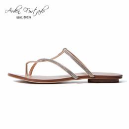 Wholesale Ladies Home Slippers - Arden Furtado 2017 Summer Women Shoes Ladies falts slippers casual Fashion Woman crystal home slides plus size satin flip flops