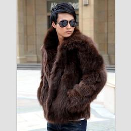 Wholesale Men Winter Jacket Fox - Wholesale- 2016 Winter Handsome Men Faux Fur Coat Thick Warm None Decoration Solid Jackets Plus Size Fox Fur Coats XS-XXXL Men Overcoat