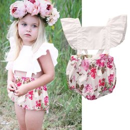 Wholesale Toddler Lace Ruffle Rompers - Baby handmade clothes children's boutique clothing Toddler Girls ruffle rompers beautiful angle Bodysuit Kids lace floral Jumpsuit Birthday