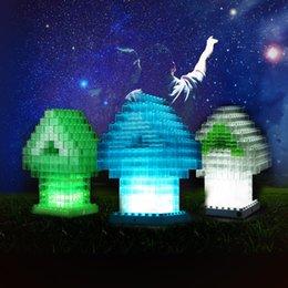 Wholesale Tetris Lamp Wholesale - Wholesale- Creative DIY block LED lights,USB powered Brick Tower Mood Night Lamp Mini Building Block Style House LED Tetris DIY Nightlight