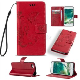 Wholesale Leather S3mini Case - Embossed Butterfly Wallet Leather Phone Cases with Card Slots Holder Pocket Flip Stand Cover For Samsung S7 S3mini S4mini S5mini S6Edge Plus