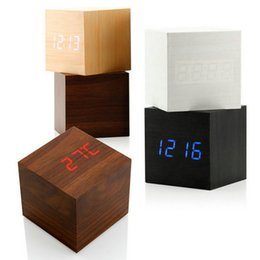 Wholesale Led Cube Tables - thermometer wall clock 13 Colors New Modern Cube Wooden Wood Digital LED Table Voice Control Alarm Clock Thermometer