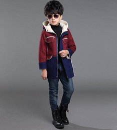 Wholesale Hood Fleece - Retail Winter Boys Coat Suede Fleece Thick Long Sleeve Hooded Outerwear Children Clothing 3-12T JS001