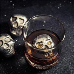 Wholesale Wholesale Stainless Appliances - Personality 304 Stainless Steel Skull Ice Cubes Ice Whiskey Ice Cubes Drink Wiskey Wine Beer Cooler Appliances Bar Stone CCA6409 100pcs