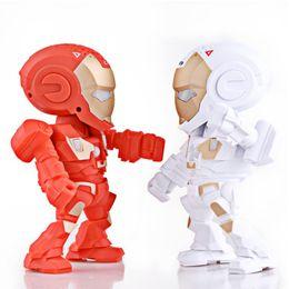 Wholesale Arm Bluetooth - Electronic Robots Iron Man Bluetooth Speaker with LED Flash Light Deformed Arm Figure Robot Portable Mini Wireless Subwoofers TF FM USB Card