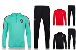 Wholesale Men S Shorts Pants - AAA+Top Thailand soccer tracksuit 16 17 PORTUGAL long sleeve Training suit pants football training clothes sportswear mens Sweater