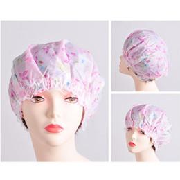 Wholesale Hair Flowers For Adults - Wholesale- 2015 Lace Bathroom Accessories For Women Ladies Flower Printing Elastic Shower Caps Plastic Waterproof Spa Bathing Hair Cap Hat