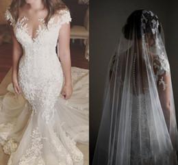 Wholesale Short Sleeved Bridal Dress - Appliqued Mermaid Wedding Dresses Sheer Neck Cap Sleeves Tulle Illusion Back Church Wedding Gowns Chapel Train Short Sleeved Bridal Dresses