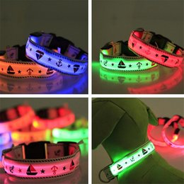 Wholesale Waterproof Led Dog Lights - Sailor label pattern LED dog collars Pet dog Collars Waterproof Pet Dog LED Lights Safe Nylon Collar Leashes Mixed Color Glowing Cat collars