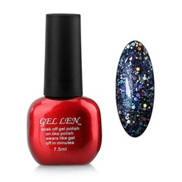 Wholesale Glitter Soak Off Gel Polish - Wholesale-Gel Len Glitter Soak off Nail Gel Polish Long Lasting Led Gel Varnish DIY Nail Art UV Gel Lacquer