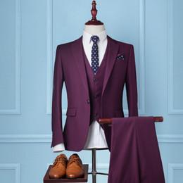 Wholesale Men Red Dress Vest - Wholesale- 2017 Men Suits Slim Fit Groom Tuxedos Brand Fashion Business Dress Wedding Red Suits Blazer 3 Piece Suit (Jacket+Pants+Vest)