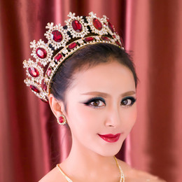Wholesale Beauty Pageant Accessories - 2017 European style Luxury Magnificent Red crystal pageant Queen princess crown Beauty bridal wedding hair jewelry accessories