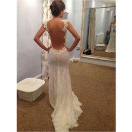 Wholesale Transparent Bridal Gown - 2017 Elegant Sheer Back Mermaid Wedding Dresses Transparent Big Open Back Court Train Bridal Gowns New Hot Sale Bridal Dresses