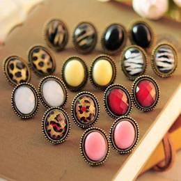 Wholesale leopard studs - Fashion Jewelry Ladies Leopard Stud Earrings Ear Stud earring Gift Fancy Earings Vintage Style Big Rhinestone Elliptic Earrings Ear Studs