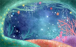Wholesale Mermaids Tale - Fairy Tale Mermaid Backgrounds for Photography Princess Girl Birthday Party Photo Backdrops Colorful Starfish Bubbles Under the Sea Backdrop