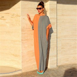 Wholesale color block maxi - Womens Oversize Boho Style Casual Long Dress 2017 Summer Batwing Sleeve Color Block Party Beach Long Maxi Dresses Vestidos W02