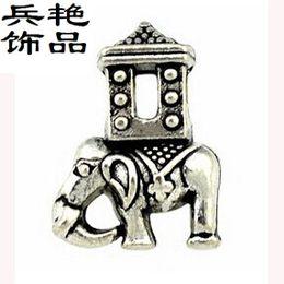 Wholesale Elephant Shaped Jewelry - Mascot house Elephant beads alloy Jewelry creative solid shape pendant wild animal Loose Beads Bracelet & Necklace Accessories