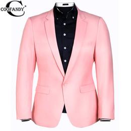 Wholesale Men S Blazer Pink - Wholesale- COOFANDY US size Men Suit One Button White Napkin Business Slim Fit Blazer Latest Coat Designs Blaze Men Pink Black Blue