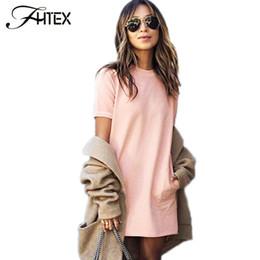 Pink Summer Shift Dress Mujeres manga corta O cuello Casual Loose Dress elegante breve fiesta Mini vestido con bolsillo 2017 vestidos 17409 desde fabricantes