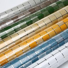 tapete für bad wände Rabatt Küche Wandaufkleber PVC Mosaik Fliesen Tapete Badezimmer Wände Papier Wasserdichte Aufkleber Tapeten Für Küche Wohnkultur 45 cm * 5 Mt / rolle
