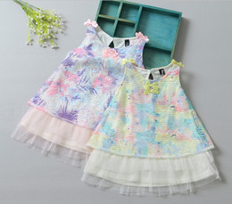 Wholesale Multicolor Tutus - Sweet Kids Clothes 2017 New Girls Vest Dress Multicolor Dress Baby Girls Casual Tutu Dress Flower Printed With Bowknots 5 Pcs lot Q0798