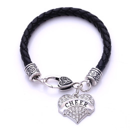 Wholesale Clear Crystal Claw Setting - New Fashion Love Heart Letter Cheer Mom Clear Crystal Charm Lobster Claw Bracelet