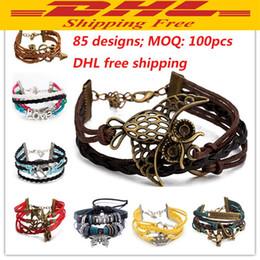 DHL livraison gratuite 85 Designs Bracelet En Cuir Antique Croix Anchor Amour Pêche Coeur Owl Oiseau Cru Perle Tricotage Bronze Bracelets Bracelets ? partir de fabricateur