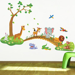 Wholesale Wild Decor - Cartoon Jungle wild animal tree bridge lion Giraffe elephant birds flowers wall stickers for kids room living room home decor wall decor