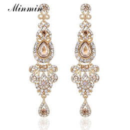 Wholesale Champagne Crystal Jewelry - Champagne Crystal Long Dangle Earrings Luxury Bridal Wedding Big Chandelier Pendant Earrings Jewelry for Women EH162