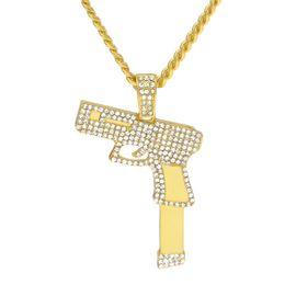 Wholesale Pistol Pendants - New Men Women Pistol Necklace Iced Out Rhinestone Crystal Charm Gold Handgun Pendant Necklace Fashion Hip hop Jewelry