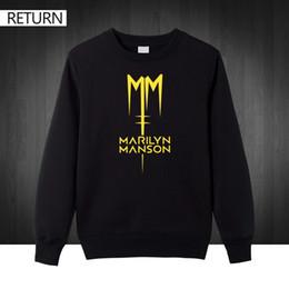 2019 marilyn manson Al por mayor-Classic Marilyn Manson Rock más tamaño impreso Sudaderas para hombres Hombres 2016 Otoño invierno Algodón Casual sudaderas con capucha hombre marilyn manson baratos