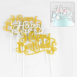 Wholesale april birthday cakes - Wholesale-1PCS Happy Birthday Cake Topper Letter Cake Picks flag Birthday Cake Decoration Kids Baby Shower Party Supplies