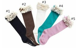 Wholesale Lace High Knee Socks - Wholesale-New baby girl socks kids Stockings classic knee BOOT high socks with lace solid color cotton socks B11