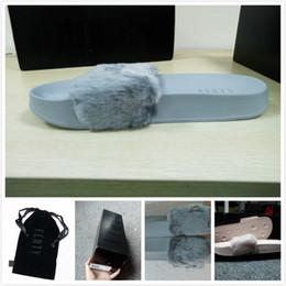Wholesale Slipper Winter Men - Rihanna Fur Leadcat Fenty Slides Women Men Slippers House Winter Slipper Home Shoes Woman Warm Slippers Pantoffels womens sandals