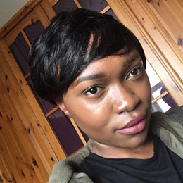 layered hairstyles medium hair Promo Codes - Layered Short Pixie Cut Human Brazilian Hair Bob Wig African American Virgin Glueless Wig None Lace Wig For Black Women Hot Sale