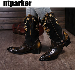 Wholesale Cowboy Ankle Boots For Men - Super Cool! Rock personality Man boots knight Motocycle boots Leather cowboy boots for Man, Man Leather Shoes, EU38-46!