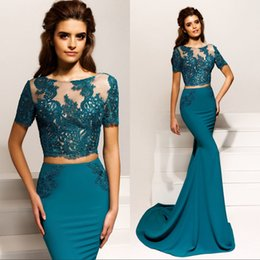 Wholesale Scalloped Strapless Mermaid Dress - Elegant Two Piece Mermaid Prom Dresses With Open Back Short Sleeves Appliques Lace Prom Party Dress Evening Wear Formal Gowns