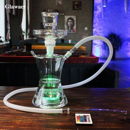 Wholesale Huge Light - Glawaer Small Russian style Glass Hookahs Huge Vapor Shisha Chicha Vaporizer Narguiles Smoking Water Pipes With LED Light Glass Bongs