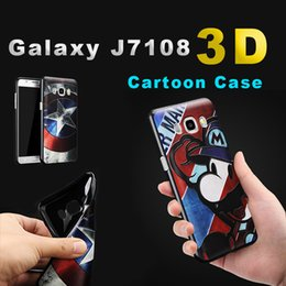 Wholesale Galaxy 3d Silicone Case - For Samsung j7 Mobile Phone Case Galaxy J7108 3D Cartoon Silicone Soft Case J7008 Relief Painted Protective Cover with Opp Package