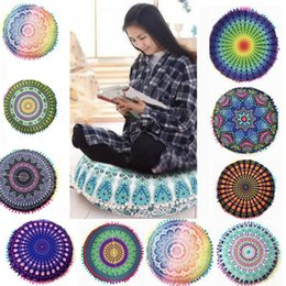 Wholesale Round Cushion Pillow Covers Mandala Meditation Pillow Case Sofa Cushion Cover Indian Bohemian Floor Pillows Cover design KKA2003