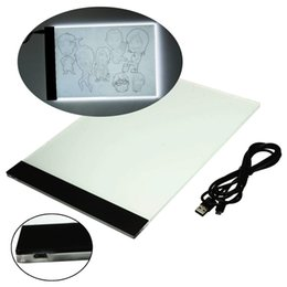 Wholesale Light Box Stencil - Wholesale- A4 Tracking Pad Ultra thin LED Animation Light Pad Acrylic Copy Borad Art Craft Stencil Tattoo Board Box LED Art WX0080
