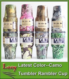Wholesale Camouflage Stockings - In Stock Camo Yeti 30 oz Pink Camouflage Mugs Yeti Rambler Tumbler Army Green Color Rambler Cups Yeti Coolers Cup Stainless Steel