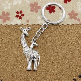 Wholesale Deer Giraffe - 15pcs Fashion Diameter 30mm ChromeplateKey Ring Metal Key Chain Jewelry Antique Silver Plated giraffe deer 54*22mm Pendant